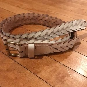 J.Crew white leather braided belt OS